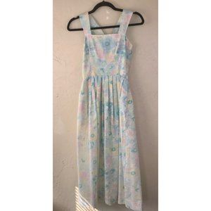 Vintage 70s Pastel Floral Tank Midi Dress Spring